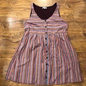 Madewell Scoopneck Tank Dress in Rainbow Stripe